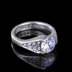 """Кольцо """"Росинка"""", размер 18, цвет белый в черненом серебре"""