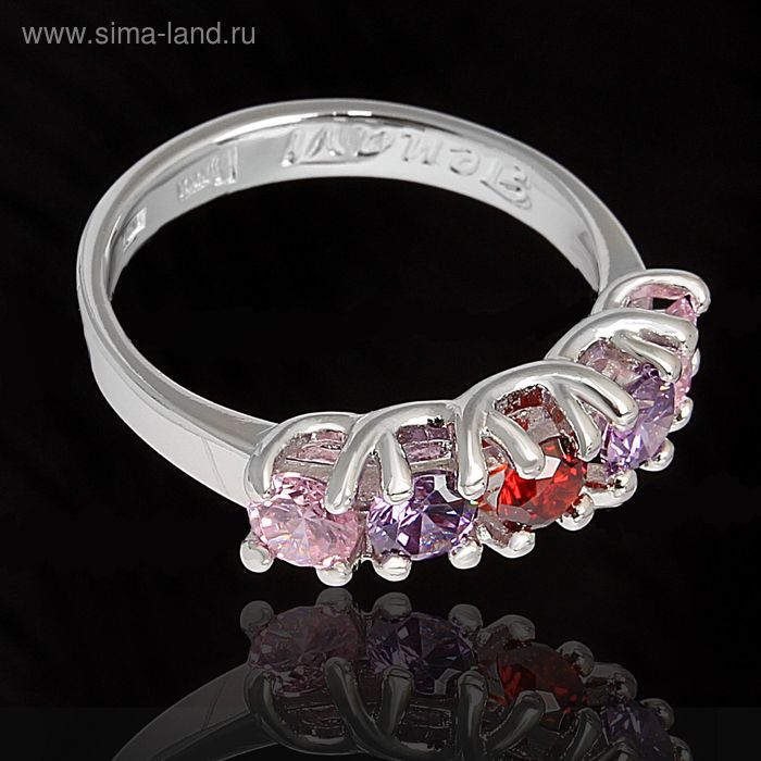"""Кольцо """"Эрлифт"""", размер 18, цветное в серебре"""