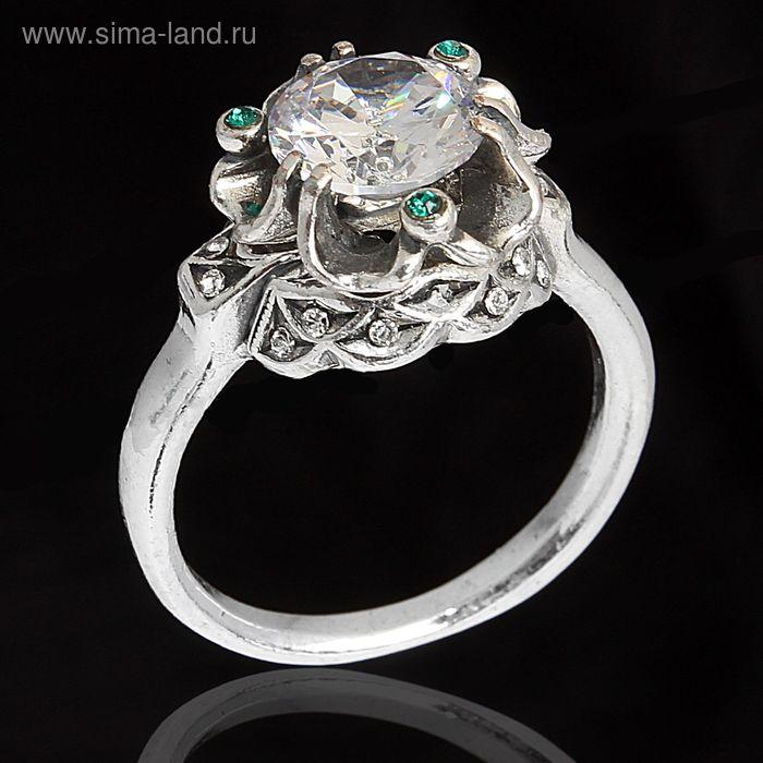 """Кольцо """"Дурман"""", размер 18, цвет зелёный в черненом серебре"""