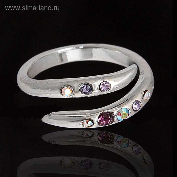"""Кольцо """"Марципан"""", безразмерное, цвет фиолетовый в серебре"""