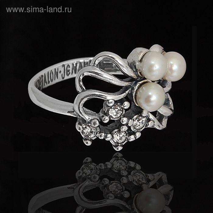"""Кольцо """"Биаро"""". размер 19, цвет белый в черненом серебре"""