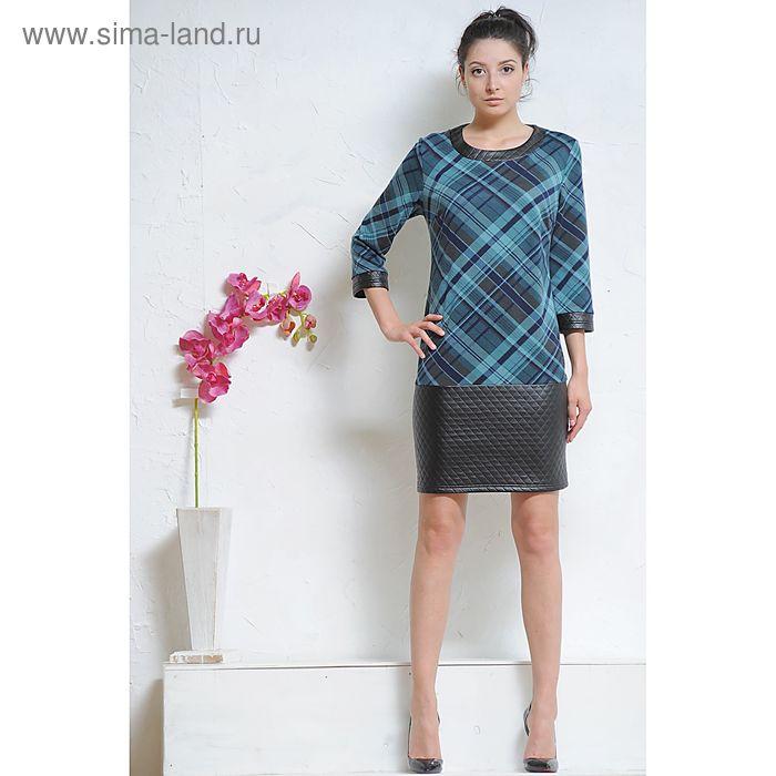 Платье 4997а С+, размер 52, рост 164 см, цвет черный/бирюза/т.синий