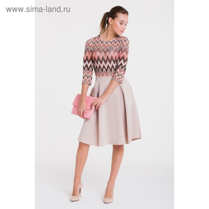 Платье 4916, размер 44, рост 164 см, цвет кремовый/беж/лосось