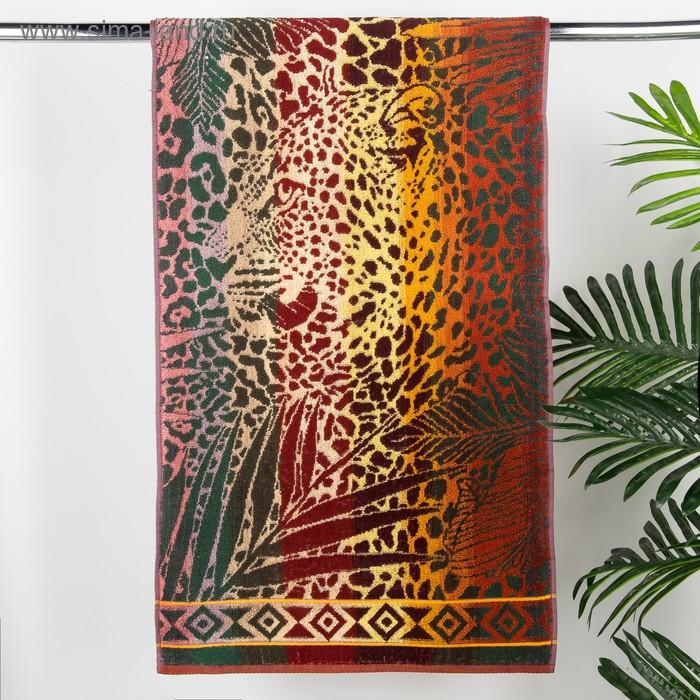 Полотенце махровое Авангард 50*90 см, 4469 Леопард в джунглях МИКС, хлопок, 420 гр/м2