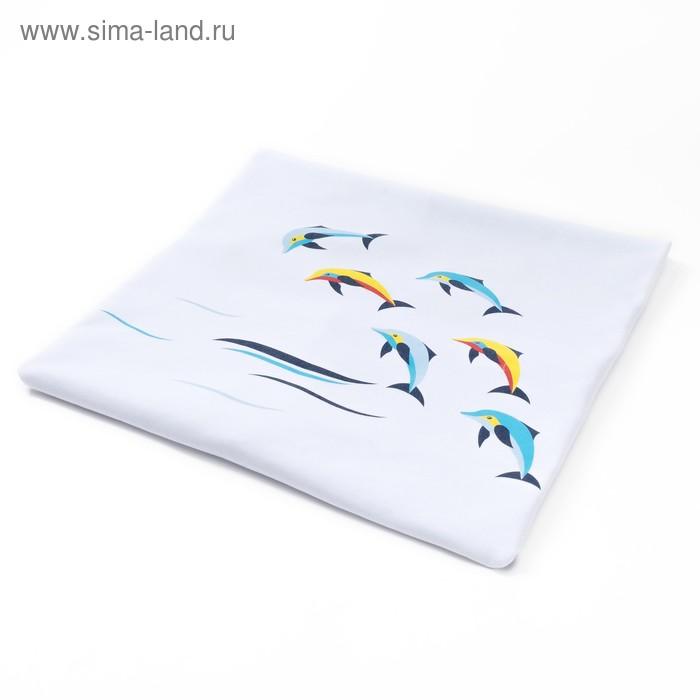 Плед детский трикотажный двухсторонний, размер 90х90 см, цвет белый/ голубой 23106
