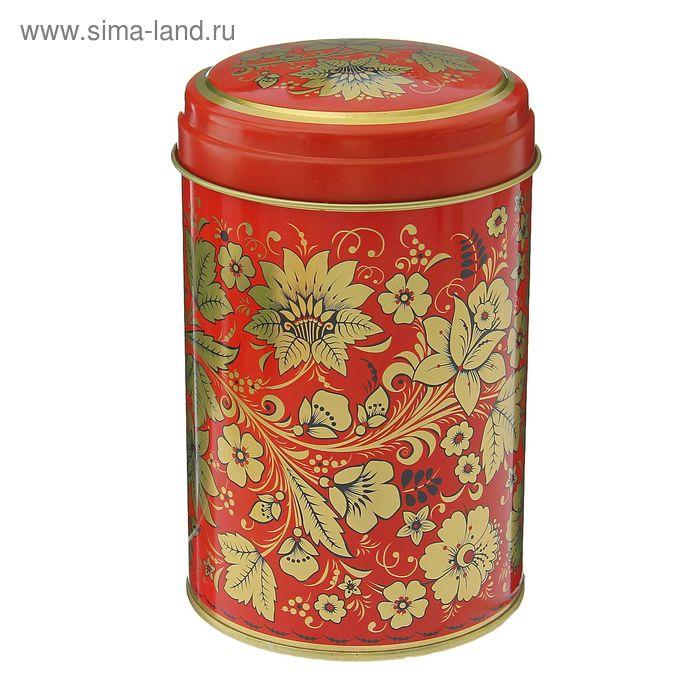 "Банка для сыпучих продуктов 1,1 л ""Хохлома. Цветы"", круглая"