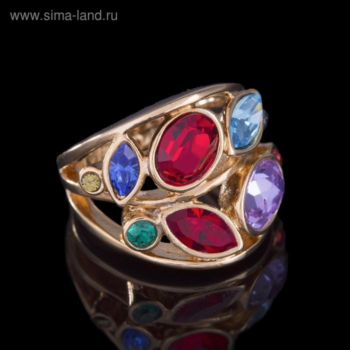 """Кольцо """"Нулви"""", размер 19, цветное в золоте"""