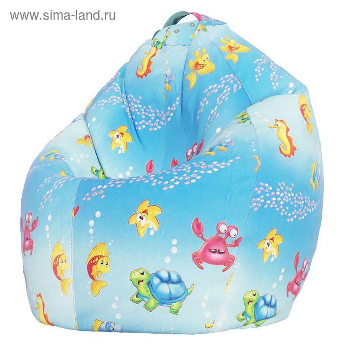 Кресло-мешок XL, ткань поплин, принт морская сказка