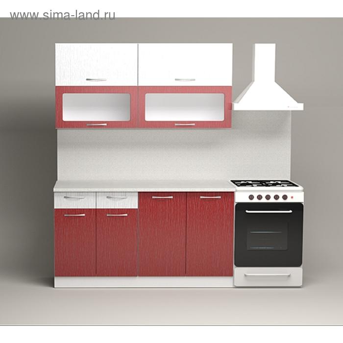 Кухонный гарнитур Дождь Белый/Красный страйп 1500