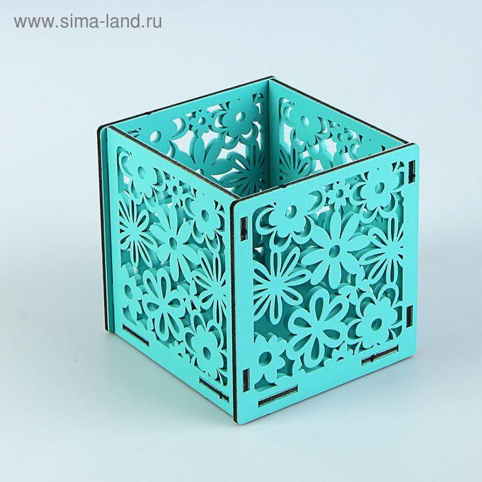 Подарочная коробочка с цветами, 10 х 10 х 10 см, тиффани