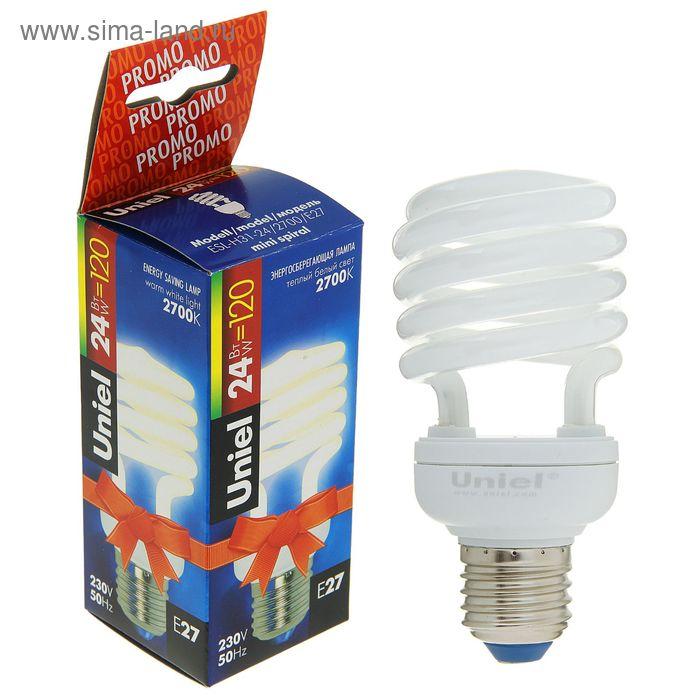 Лампа энергосберегающая Uniel, Е27, 24 Вт, 2700 К, свет тёплый