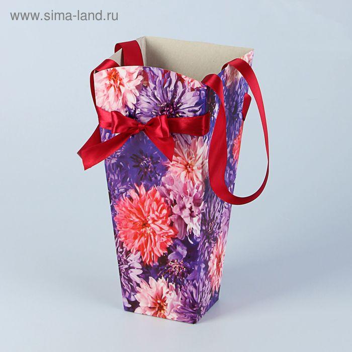 """Пакет для цветов """"Хризантема"""", индиго, 15 х 13 см"""