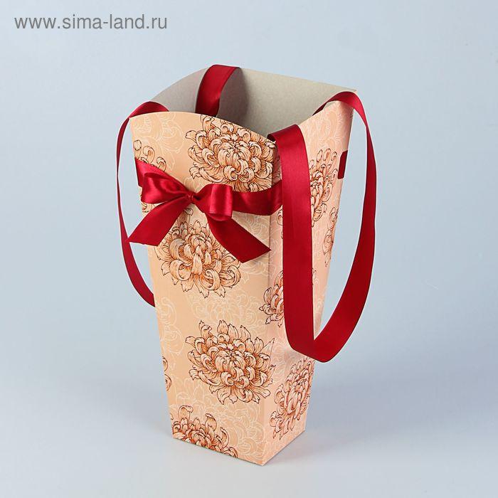 """Пакет для цветов """"Хризантема"""", сливочный, 15 х 13 см"""
