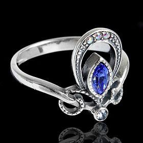 """Кольцо """"Дувр"""", размер 18, цвет голубой в черненом серебре"""