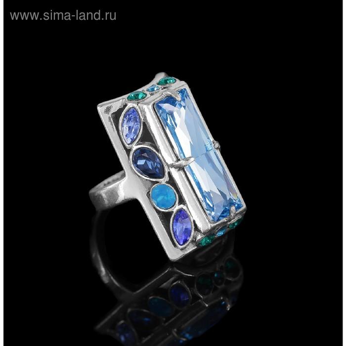 """Кольцо """"Донизети"""", размер 18, цвет голубой в черненом серебре"""