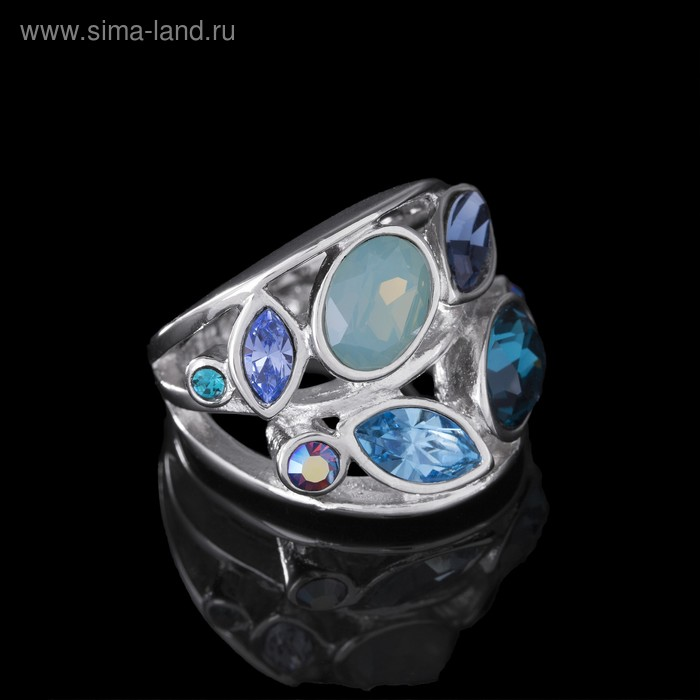 """Кольцо """"Нулви"""", размер 18, цветное в серебре"""