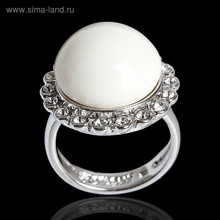 """Кольцо """"Бамбузе"""", размер 19, цвет белый в серебре"""