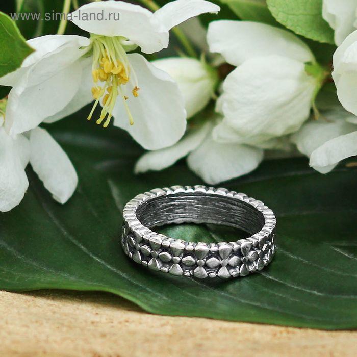"""Кольцо """"Умласио"""", размер 18, цвет черненое серебро"""