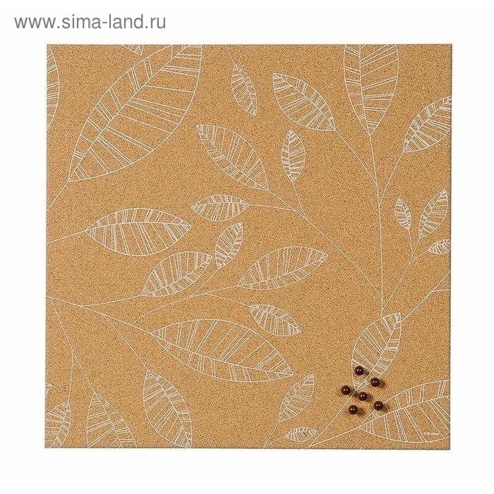 Доска пробковая 40х40 см, рисунок Листья, без рамки