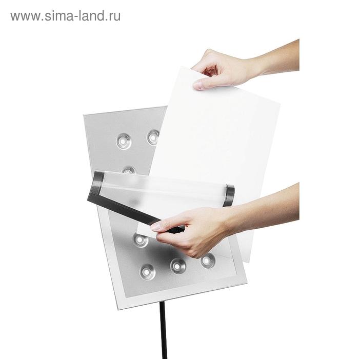 Информационный стенд напольный Durable Duraview А4, металлический, серебристый, магнитная рамка