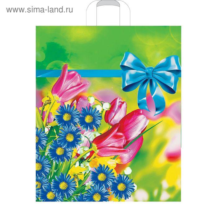 """Пакет """"Летние цветы"""", полиэтиленовый с петлевой ручкой, 38х45 см, 60 мкм"""