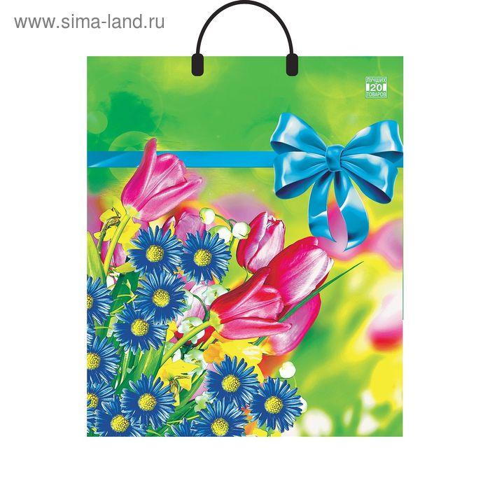 """Пакет """"Летние цветы"""", полиэтиленовый с пластиковой ручкой, 40х44 см, 100 мкм"""