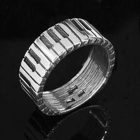 """Кольцо """"Рояль"""", размер 19, цвет черный в серебре"""