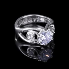 """Кольцо """"Рутера"""", размер 17, цвет белый в серебре"""