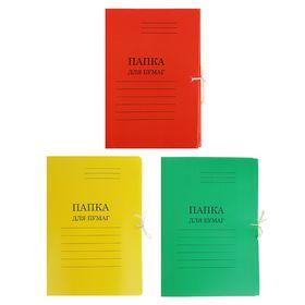 Папка для бумаг А4 на завязках, плотность 280г/м2, мелованный картон, 4 вида МИКС Ош