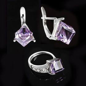 """Гарнитур 2 предмета: серьги, кольцо """"Куб"""", размер 17, цвет фиолетовый в черненом серебре"""