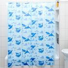 """Штора для ванной 180х180 см """"Дельфины"""", цвет голубой"""