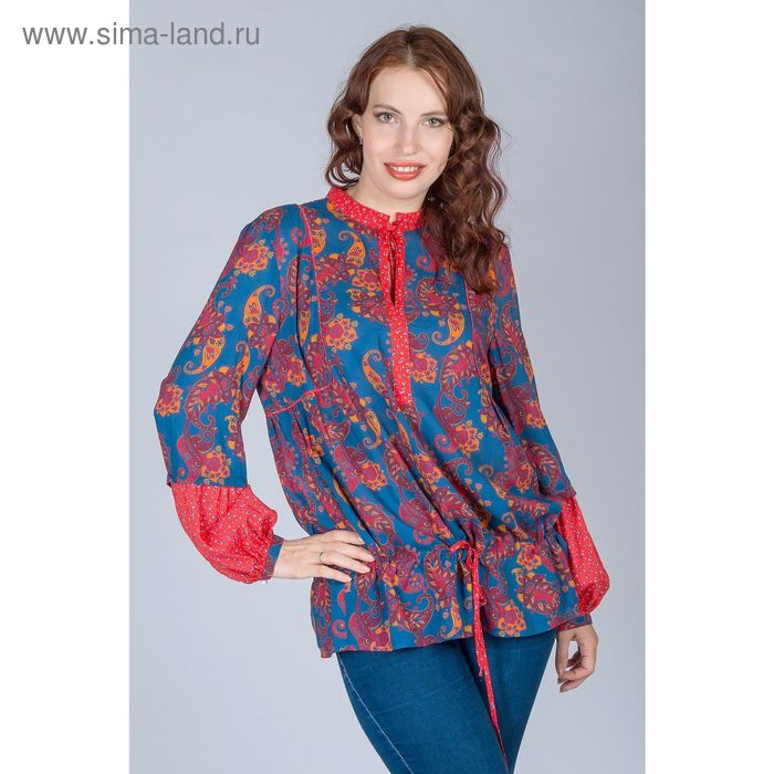 Блуза женская, размер 52, рост 170 см, цвет огурцы (арт. Y1163-0238 С+)