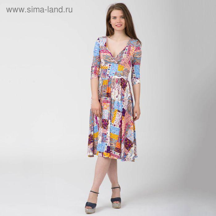 Платье женское, размер 54, рост 170 см, цвет цветной принт (арт. Y0269-0154 С+)
