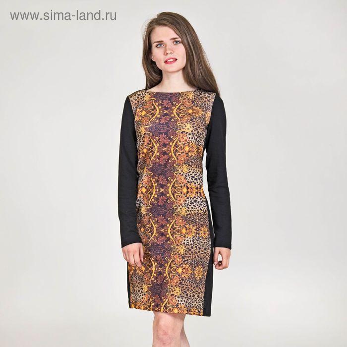 Платье женское, размер 52, рост 170 см, цвет чёрный (арт. Y0200-0227 С+)