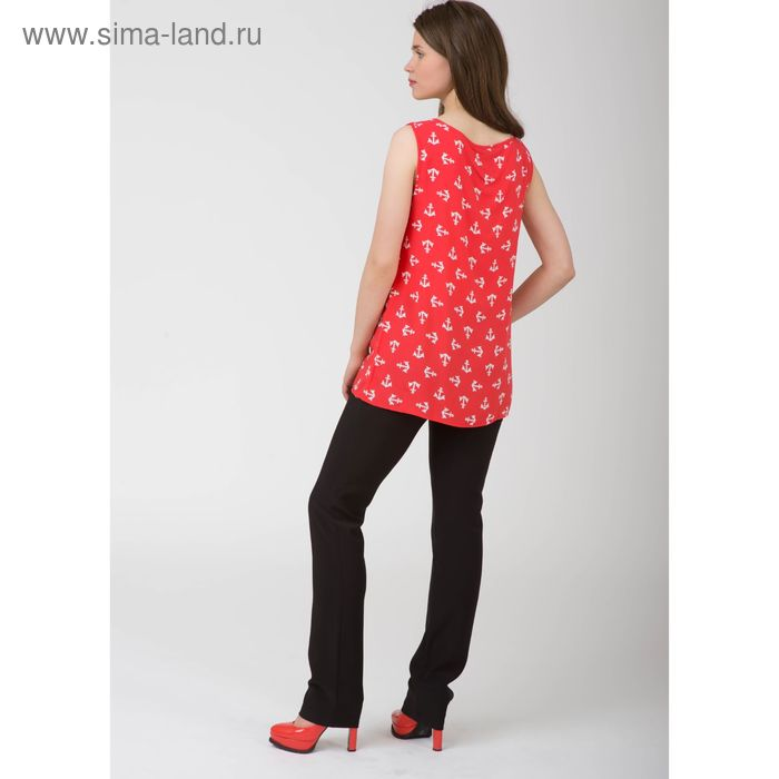 Блуза женская, размер 54, рост 170 см, цвет красный белый якорь (арт. Y1155-0230 С+)