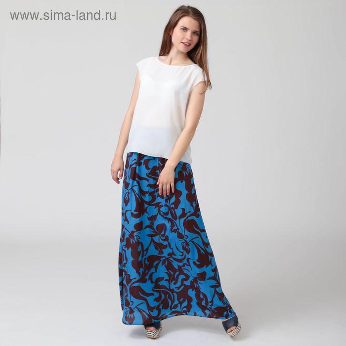 Юбка женская, размер 52, рост 170 см, цвет сине-коричневые цветы (арт. Y1161-0131 С+)