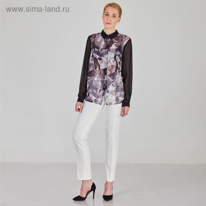 Блуза женская, размер 54, рост 170 см, цвет цветной принт (арт. Y1017-0171 С+)