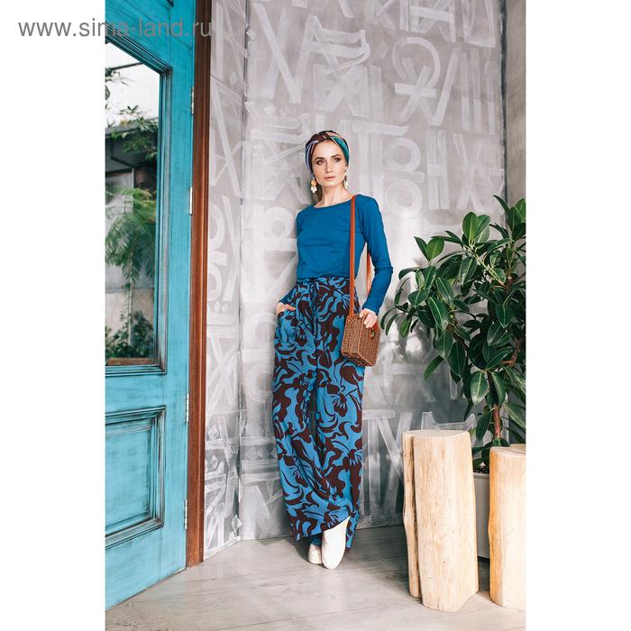 Брюки женские, размер 54, рост 170 см, цвет сине-коричневые цветы (арт. Y1161-0148 С+)