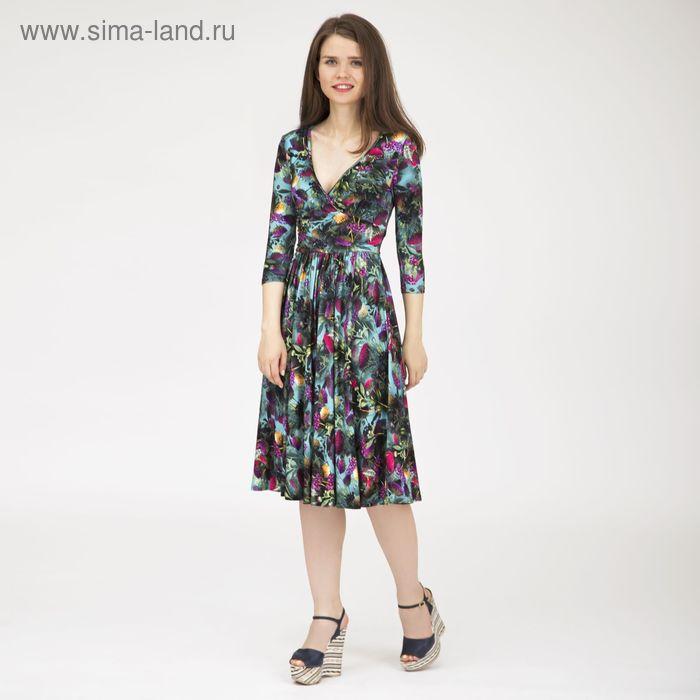 Платье женское, размер 50, рост 170 см, цвет цветной принт (арт. Y0270-0154 С+)
