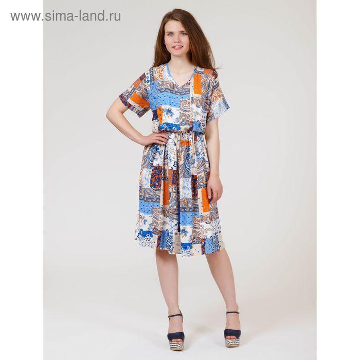 Платье женское, размер 52, рост 170 см, цвет цветной принт (арт. Y1158-0239 new С+)