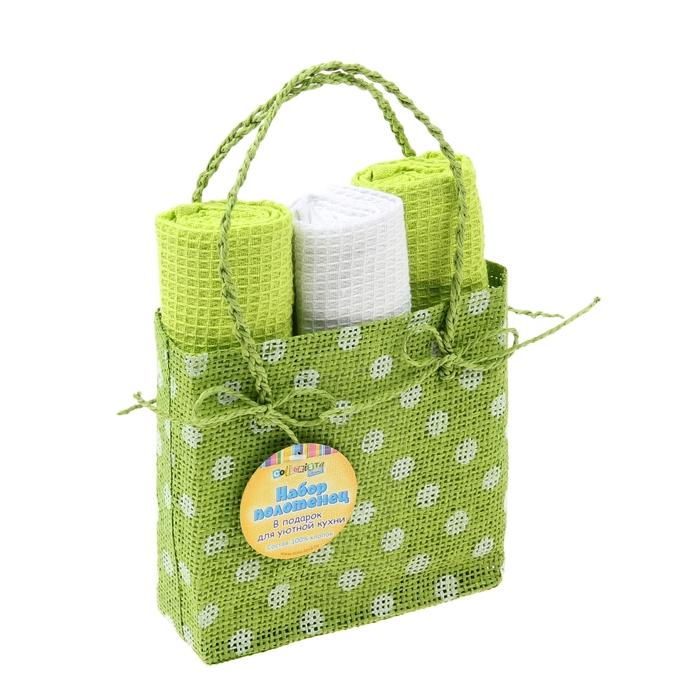 Набор полотенец для кухни Retro Green 40*60 см, 3 шт, вафельное