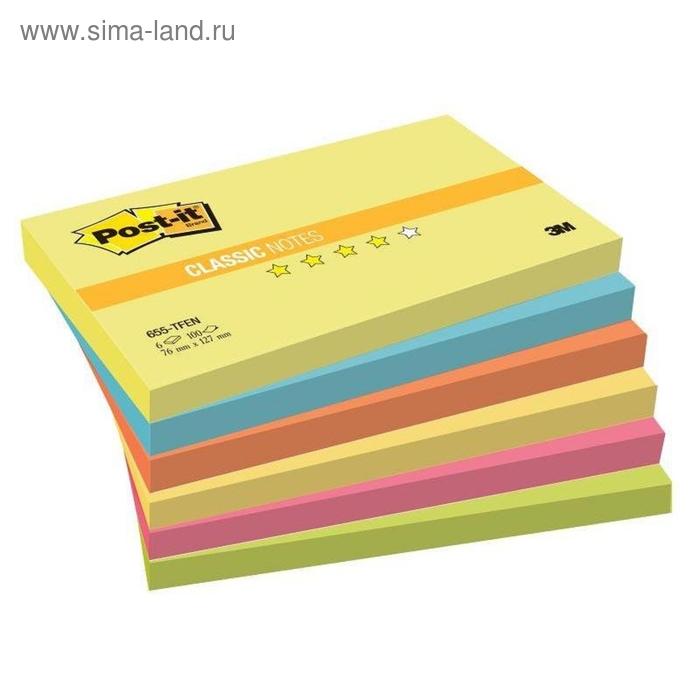 Стикеры Post-it 76x127 мм 5 цветов неоновые 6 блоков по 100 листов