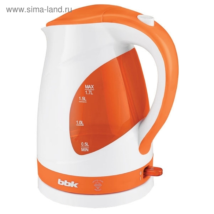 Чайник электрический BBK EK1700P, 2200 Вт, 1.7 л, белый/оранжевый