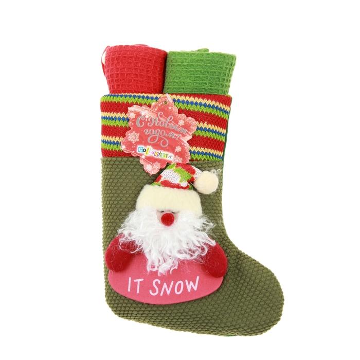 """Набор кух. """"Collorista"""" 2 пр. Gift sock Santa, 38*63 см - 2 шт. 100% хлопок, ваф.полотно"""