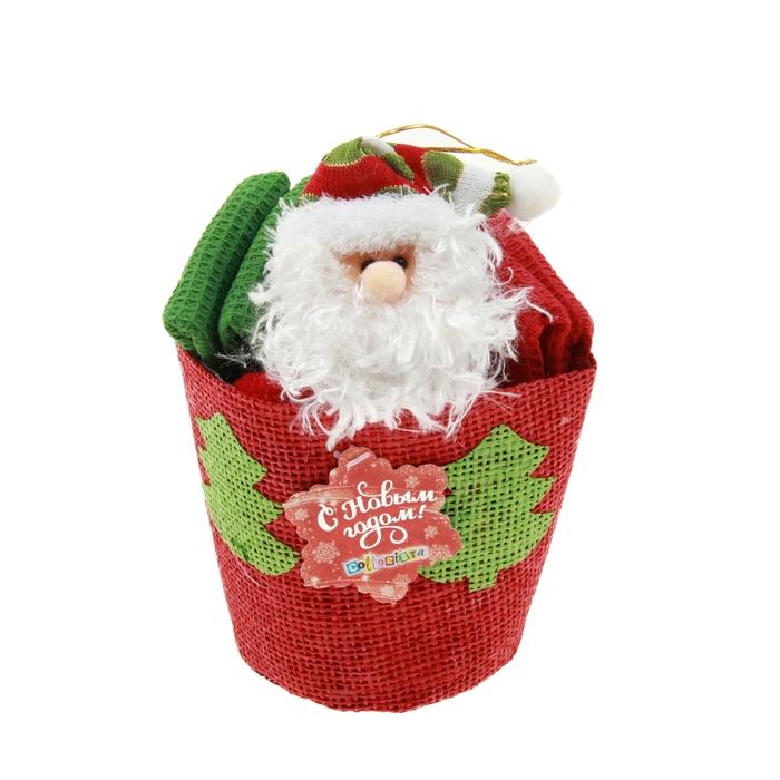 """Набор кух. """"Collorista""""4 пр. Chrsitmas cap Santa, 30*30 см - 4 шт. 100% хлопок, ваф.полотно 10448"""