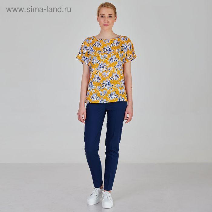 Блуза женская, размер 50, рост 170 см, цвет голубые цветы на желтом (арт. B1390-0869 С+)