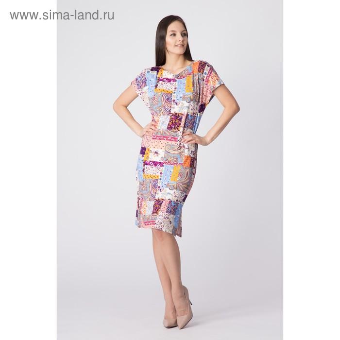 Платье женское, размер 56, рост 170 см, цвет цветной принт (арт. Y0269-0160 С+)