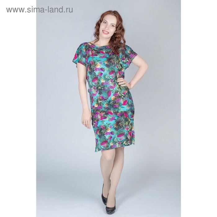 Платье женское, размер 58, рост 170 см, цвет цветной принт (арт. Y0270-0160 С+)