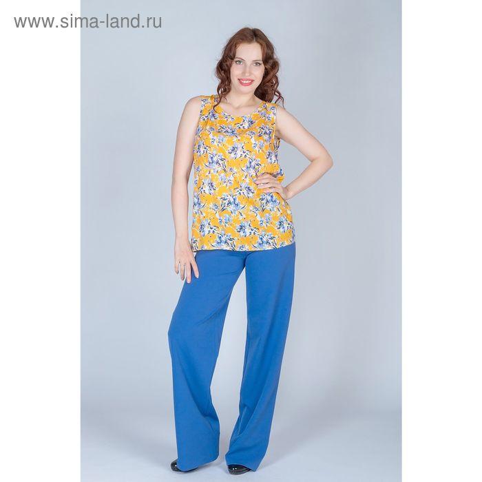 Блуза женская, размер 54, рост 170 см, цвет голубые цветы на желтом (арт. B1390-0970 С+)