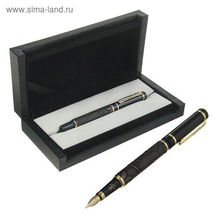 Ручка подарочная перьевая в кожзам футляре Узор корпус черный с золотыми вставками